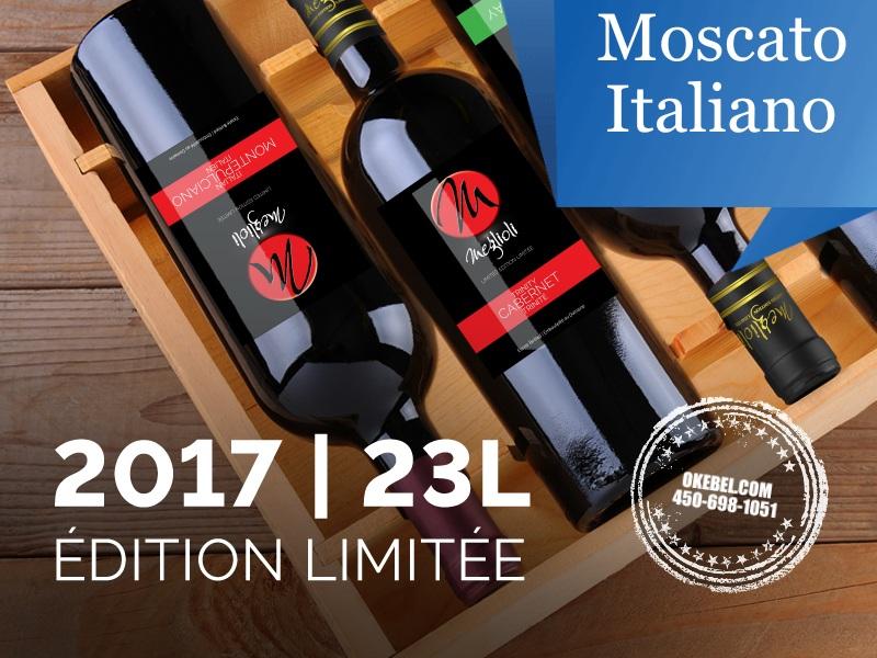 Kit à vin Pour fabriquer son vin maison Mosti Mondiale Meglioli Moscato Italiano 23L. vin rouge. Donne 23L.